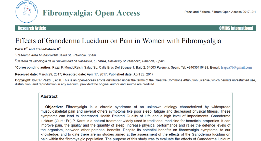 Effects of Ganoderma Lucidum on Pain in Women with Fibromyalgia